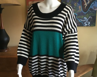 Vintage 1980s Oversized Slouchy Sweater Black and White Turquoise Teal Green 80s Color Block One Size Fits All