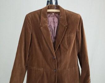 Vintage Sears 70s Medium Brown Velvet Blazer Jacket