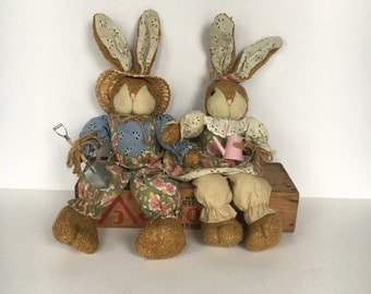 1980s Mr & Mrs Gardening Bunnies Country Decor Stuffed Bunny Country Bunny Farmhouse decor folk art rabbit Easter Bunny anthropomorphic