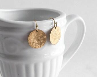 Hammered Brass Circle Earrings Simple Jewelry Dangle Charm Boho Bohemian