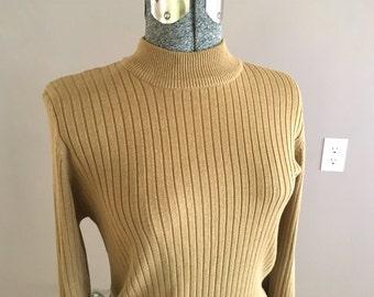 Vintage Mock Turtleneck Pullover Sweater, Ribbed Beige High Neck Sweater