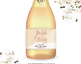 Brunch & Bubbly Miniature Champagne Labels, Bridal Shower Favors, Mini Wine Label Favors, Baby Shower Favor, Mini Champagne Bridal Brunch