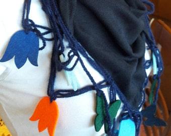 Black Triangle Scarf -Black Crochet Scarf with Flowers- Felt tulip scarf- all season scarf - black coton Scarf-  Multicolor Crochet Hearts