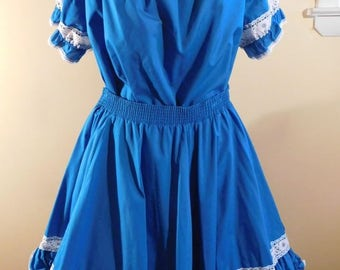 Partners Please Malco Modes San Francisco Square Dance Top and Circle Skirt Turquoise Circle Skirt Rockabilly Westernwear