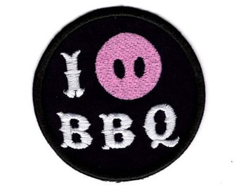 I snort BBQ Patch I Love BBQ  pig out on BBQ  Iron/Sew on Badge
