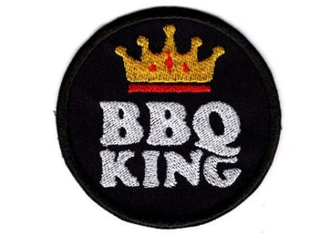 BBQ KING Patch  BBQ Food  Chef Iron/Sew on Badge