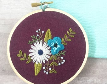 Embroidery Hoop Art. Floral Embroidery. Fiber Art. Flower Wall Art. Nursery Art.