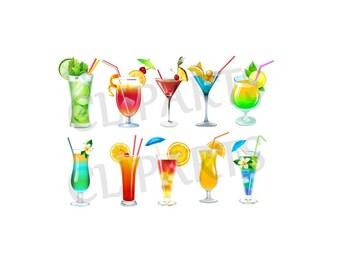Clip art drinks / COCKTAIL drink - PNG Digital Clip Art Scrapbook, Invitation, etc. Instant Download - printable