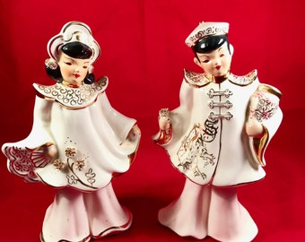 Florence Ceramics Asian Couple, Vintage Man and Woman figurines.  Creamy white with gold and black painted accents.  8 inches by 5 inches