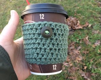 Green and Brown Neutral Coffee Cozy / Sleeve Crochet