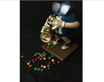 Vintage M&M Candy Dispenser, Blue Peanut Playing Sax, Blues Café Edition, Candy lover, MM Peanut Candy, Collectible
