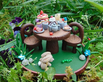 Handmade Miniature Clay Fairy Tea Party made out of Polymer Clay