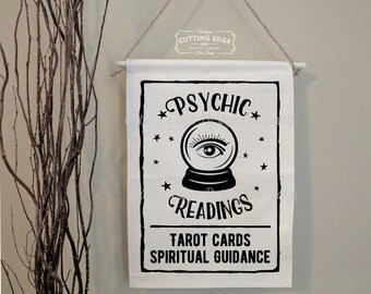 Psychic Readings Crystal Ball Tarot Cards Spiritual Guidance | Cotton Canvas Wall Banner | Tarot Readings | Tarot Wall Art | Witchy Decor