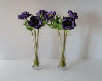 Purple silk anemone bouquet in tall glass vase Silk flower arrangements Artificial Faux flowers Bedroom Mothers Day gift ideas Birthday