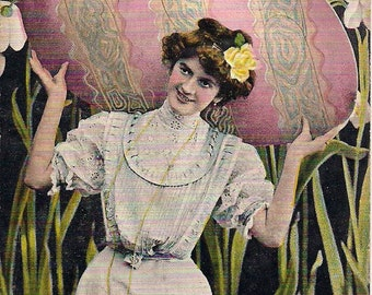3 Easter Postcards Lady with Giant Easter Egg - Easter Rabbits - Chick - Lilies 1910 1911
