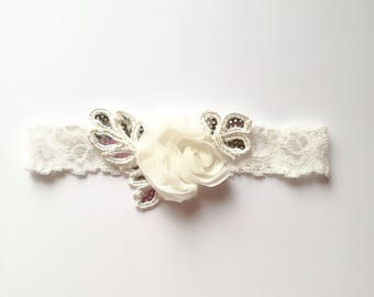 Ivory Lace garter Wedding garter Lace wedding garter Garter with flower