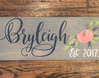 Custom Floral Name Sign|Personalized|Little Girls floral room or nursery|Bedroom Decor|Gift Item|Hand Painted