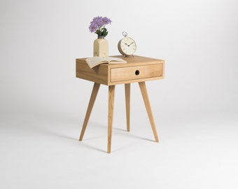 Nightstand, bedside table, end table, side table with one drawer, scandinavian design, mid century modern, oak wood