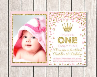 Girl 1st Birthday First birthday invitation Pink and Gold