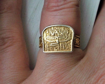 SALE###14k gold plated Egyptian Isis plaque ring size 8