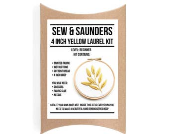 Yellow Laurel 4 Inch Hoop Art Kit