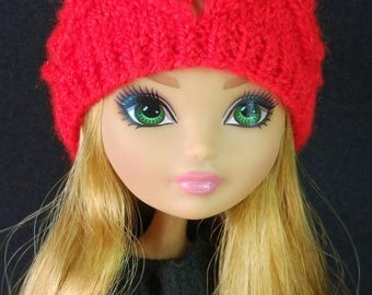Doll clothing knitted red hat monster and ever after dolls high fashion clothes beret accessories for mh eah bjd mc2 5-6 inch head 1/6 scale