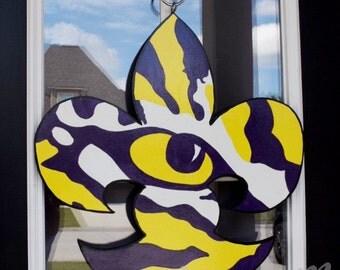 Free Shipping -  LSU Door Hanger, LSU Tigers, Tiger Eye, Fleur de Lis door Hanger, Fleur de Lis, Purple and Gold, SEC Door Hanger