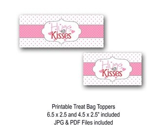 Hugs & Kisses Treat Bag Toppers, Valentine's Day Bag Toppers, Valentine's Day Crafts, Classroom Treat Bags, Candy Bags, Printable, Polka Dot