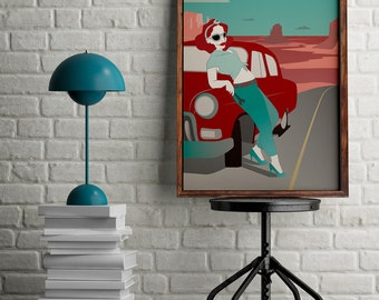 Pinup art, Print of a pin up girl, Pin up in the desert poster, Retro wall decor, Pinup illustration