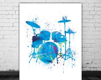 Drum Art, Drummer Gift, Music Decor, Musical Instrument, Musician Gift, Drum Decor, Purple Blue Watercolor Poster Illustration Art