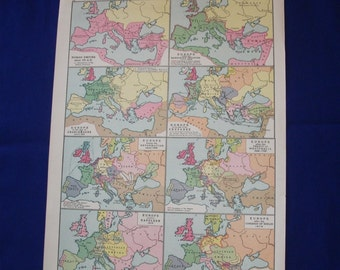 1926 map of  europe historical map vintage wall decor