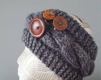 Headband ear warmer handmade for her winter headband winter ear warmer fall headband automn headband gray headband handmade knitted