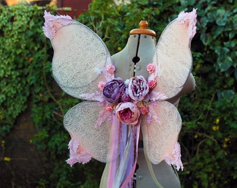 Dreamy Pink Fairytale Ribbon/Lace Waterfall Romantic Flower Fairy Wings Costume/Fairy - Faerie Cosplay/Wearable Wings