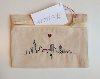 Hand Embroidered Cotton Cosmetic Zip Pouch - Chicago Skyline with Heart