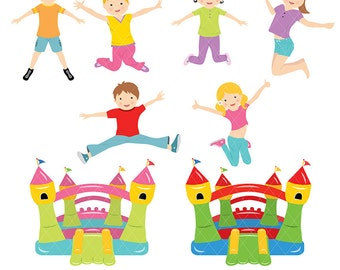 Bounce House Clipart, Bounce castle Clipart, Bounce House Clp art, Instant Download, only FOR PERSONAL USE
