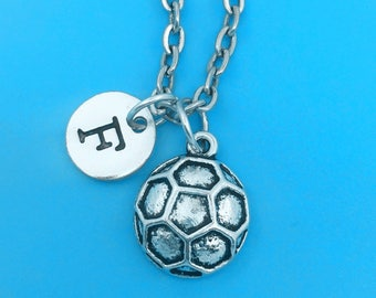 Soccer necklace, personalized necklace, soccer charm necklace, initial necklaces, soccer charm, soccer pendant, soccer jewelry, soccer gift