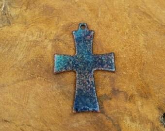 Copper Cross Pendant - Enamel - Blue - Small - Vintage - Rustik -  Religious Relic