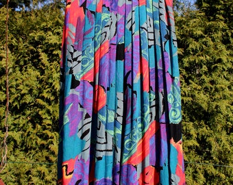 Vintage 80s colorful floral patterned long  skirt, 80s style, maxi skirt // patterns allover 90s
