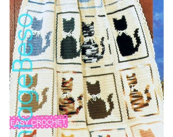 INSTANT DOWNlOAD - PdF Pattern - Cat Afghan Crochet PATTERN Cat Pillow Pattern Vintage Easy Crochet Single Crochet Kitty Cat Blanket