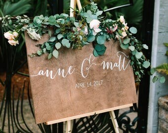 Wedding Welcome Sign - Name sign - Wedding Signs - Wood Wedding Sign - Wooden Wedding Signs - Wood - Rustic Wood Wedding Sign