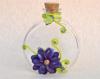 Polymer Clay Flower, Clay Flowers, Flower Vase, Diffuser Vase, Flower Decor, Flower Diffuser, Clay Decor, Polymer Clay, Decorated Bottle