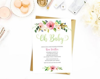 Floral Baby Shower Invitation, Oh Baby Shower Invitation Floral, Wreath Baby Shower Invitation, Watercolor Floral Baby Shower Invitation