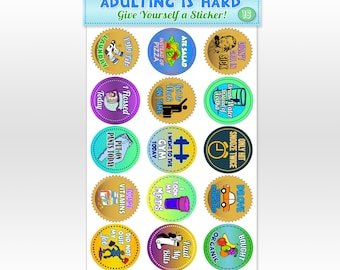 15 HUGE Adult Achievement Stickers - Glossy Finish, Perfect for Friends, Co-Workers, Employees, Siblings, Gag Gifts, White Elephant Gifts!