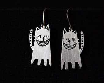 Cute Kitty Silver Earrings CHESHIRE CAT , Handmade jewelry,  Kitten Earrings, Silver Cat Earrings, Contemporary Silver
