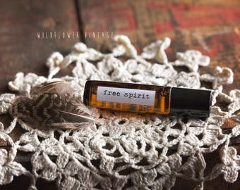 Free Spirit Essential Oil Roll-on Perfume | Festival Boho Bohemian Hippie Patchouli Lavender Cedarwood Natural Scent