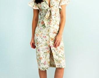 Floral dress Summer dress Cotton fashion dress  Midi dress Сasual dress Dress with flower print