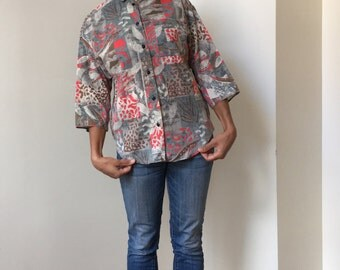 Vintage Ardmore Safari Print Collar Blouse