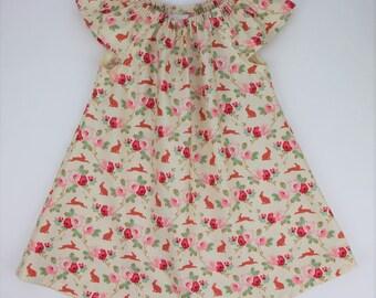 Girls Dress Size 1 / Tilda Floral Peasant Dress  / babies clothing / Size 1 / 12-24 months floral print babies dresses / Bunny Dress