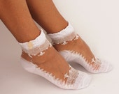 Lace Ankle Socks, womens socks with vintage pearl buttons, One Size Fits All Women