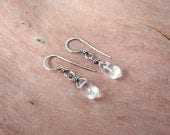 Clear Quartz Earrings ~ Petite Natural Rock Crystal Teardrops with Handcrafted Eco-Friendly Recycled Sterling Silver Hooks ~ Simple Style